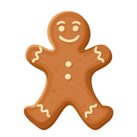 character illustration: Gingerbread man. Vector Christmas cookie.