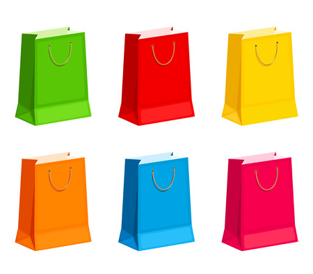 goodie: Set of colorful gift or shopping bags. Vector illustration. Illustration