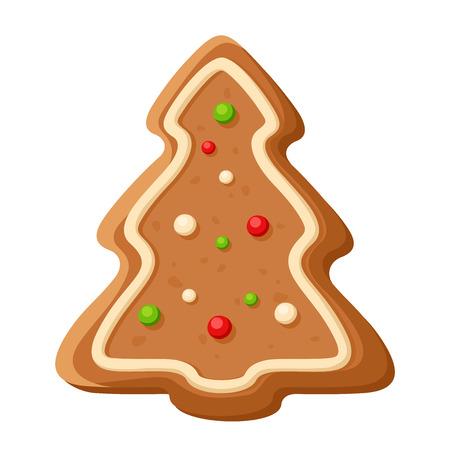 christmas cookie: Gingerbread tree. Vector Christmas cookie.