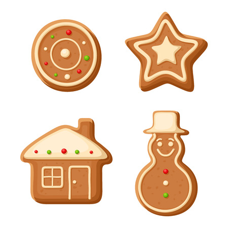 Christmas gingerbread cookies. Vector illustration. Vector