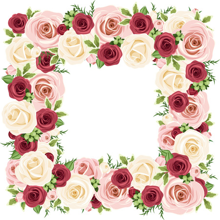 claret: Frame with red, pink and white roses. Vector illustration.