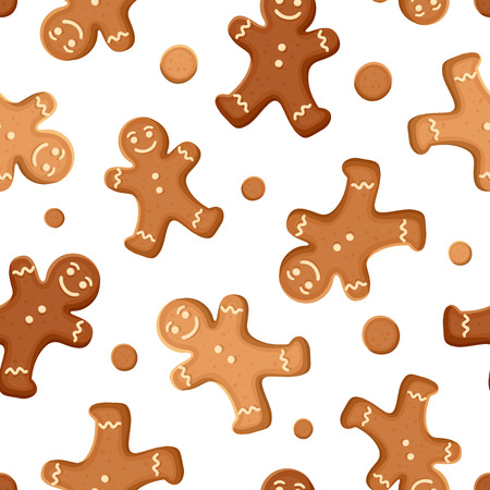 Seamless background with gingerbread men cookies. Vector illustration.