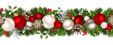 pine decoration: Christmas horizontal seamless background. Vector illustration.