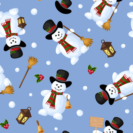green tophat: Christmas seamless background with snowmen. Vector illustration.