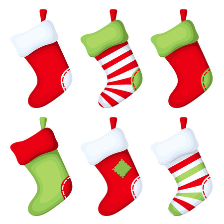 red and white: Set of Christmas socks. Vector illustration.