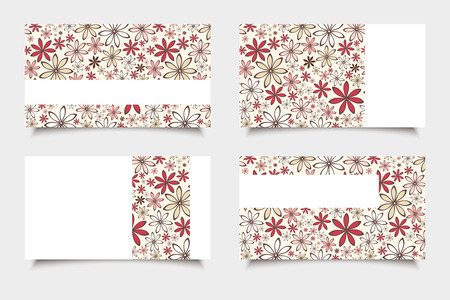 Business cards with red and beige flowers. Vector eps-10. Illustration