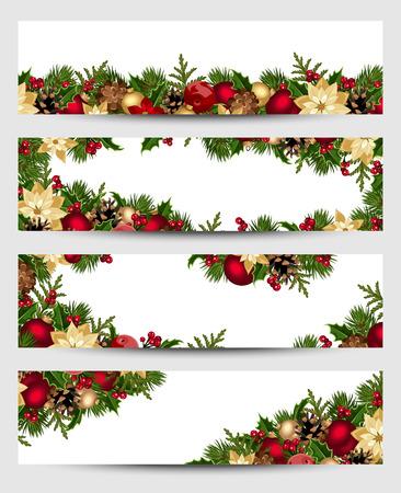 flor de pascua: Banderas de la Navidad. Eps-10 de vectores.