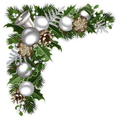 pine cone: Christmas decorative corner. Vector illustration. Illustration