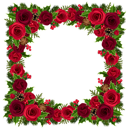 fir tree red: Christmas frame with roses, holly, fir branches and cones. Vector illustration.