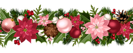 garland border: Christmas seamless garland with balls, holly, poinsettia and cones. Vector illustration. Illustration