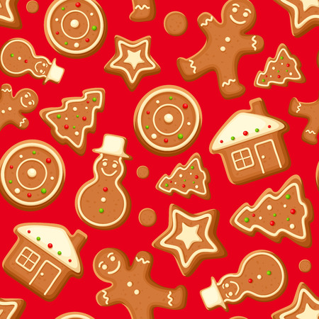 cookies: Seamless background with gingerbread cookies. Vector illustration. Illustration