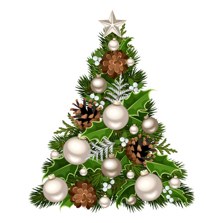 branches and leaves: Christmas tree. Vector illustration.