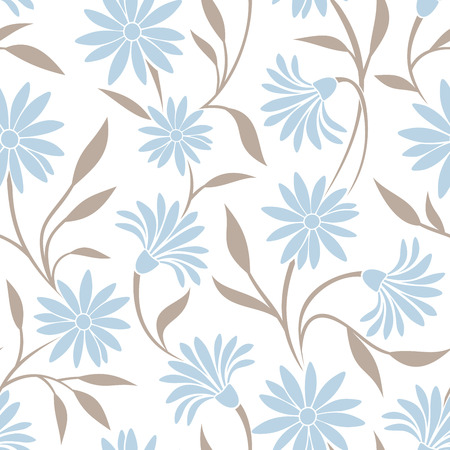 Seamless pattern with blue flowers and beige leaves. Vector illustration. Reklamní fotografie - 34278886