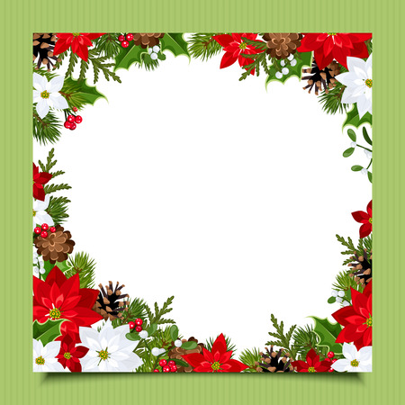 Christmas card with fir branches, holly, poinsettia and cones. Vector eps-10. Vettoriali