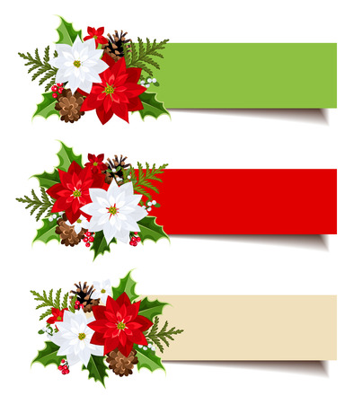 festive pine cones: Christmas banners with fir branches, holly, poinsettia and cones. Vector eps-10.