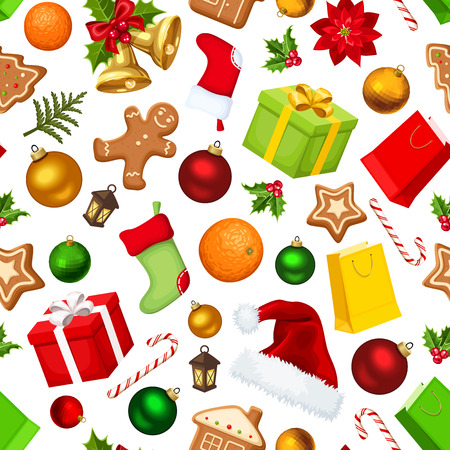 christmas hat: Christmas seamless background. Vector illustration. Illustration