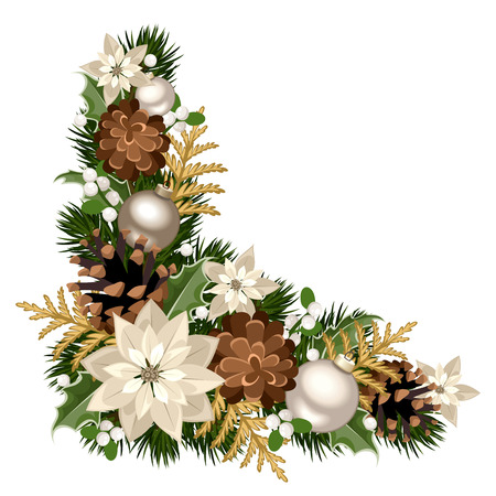 Christmas decorative corner. Vector illustration. Ilustrace