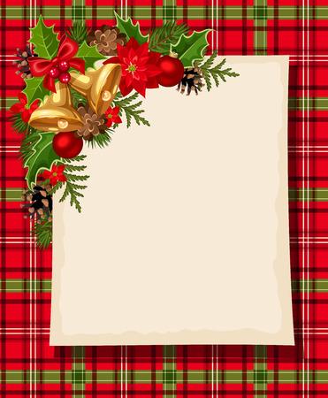 poinsettia: Christmas card with bells, holly, cones, balls, poinsettia and tartan. Vector eps-10. Illustration