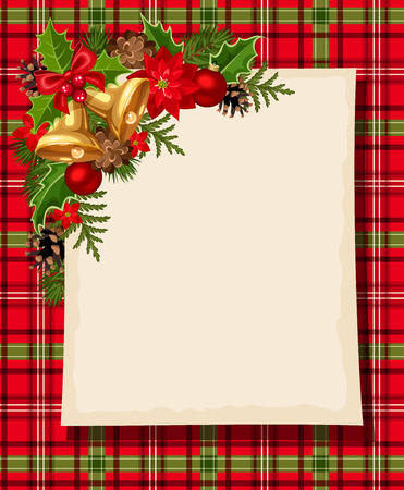 Christmas card with bells, holly, cones, balls, poinsettia and tartan. Vector eps-10. Illustration