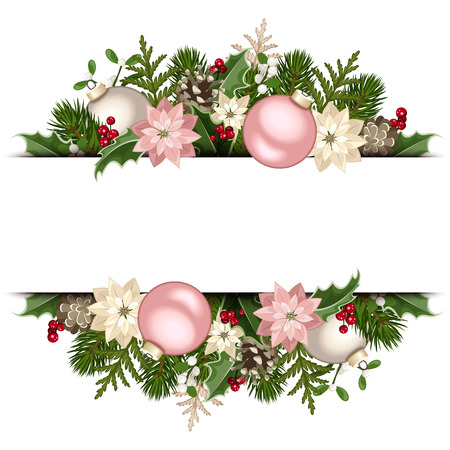 Vector Christmas banner with fir branches, pink and white balls, holly, poinsettia and cones.