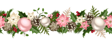 Christmas seamless garland with fir branches, pink and silver balls, holly, poinsettia, cones and mistletoe. Vector illustration.