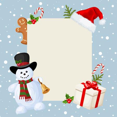 neige qui tombe: Carte de Noël avec bonhomme de neige, des décorations et des chutes de neige. Vector illustration.