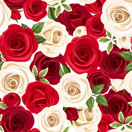 Nahtloses Muster mit roten und weißen Rosen. Vektor-Illustration.