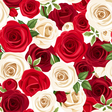 claret red: Seamless pattern with red and white roses. Vector illustration. Illustration