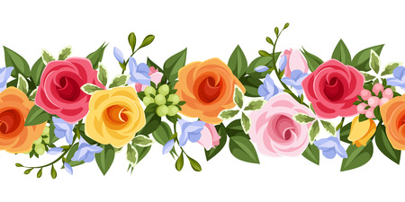 repetition row: Horizontal seamless background with colorful roses and freesia flowers. Vector illustration. Illustration