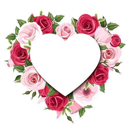 Sfondo con rose e fiori lisianthus. Vector eps-10. Archivio Fotografico - 35087498