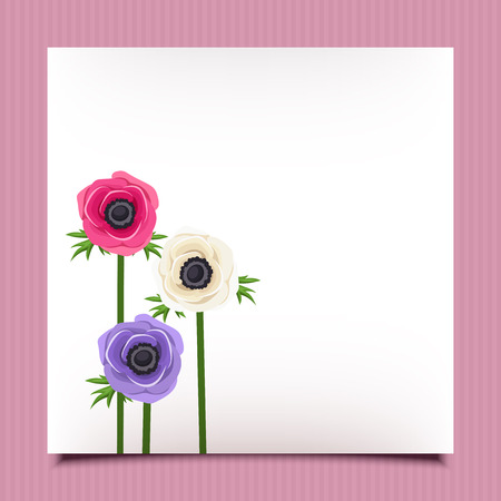 anemone: Card with anemone flowers. Vector eps-10.
