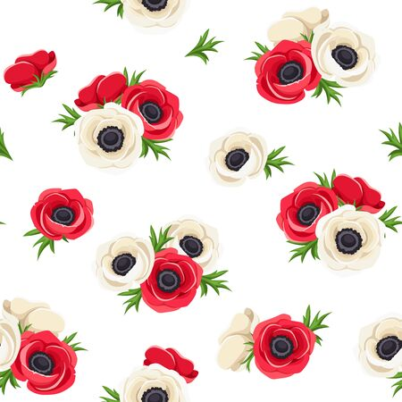 claret red: Seamless pattern with red and white anemone flowers. Vector illustration.