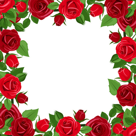 Frame with red roses and green leaves. Vector illustration. Çizim