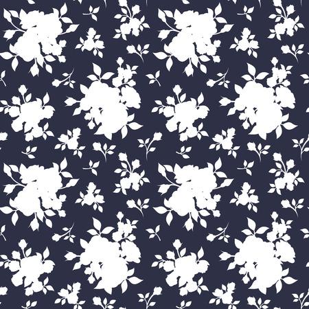 Seamless white floral pattern on dark blue. Vector illustration. Vector