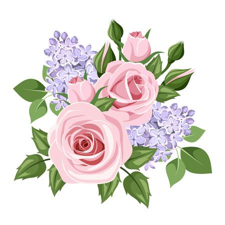 Rosa Rosen und lila Blüten. Vektor-Illustration.