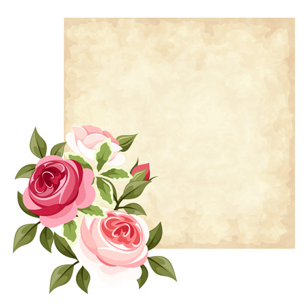 Vector parchment card with red and pink roses.