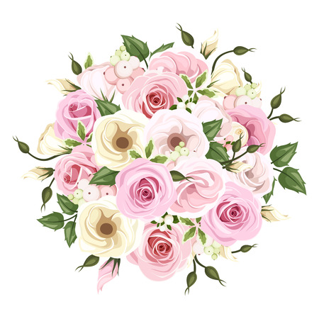 Bouquet of pink and white roses and lisianthus flowers. Vector illustration.