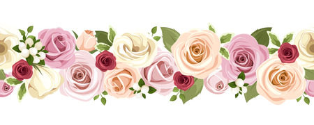 Horizontal seamless background with colorful roses and lisianthus flowers. Vector illustration. Иллюстрация