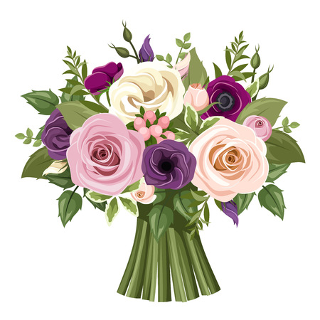 Bouquet of colorful roses and lisianthus flowers. Vector illustration. Çizim