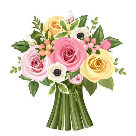 isolated on yellow: Bouquet of colorful roses and anemone flowers. Vector illustration. Illustration