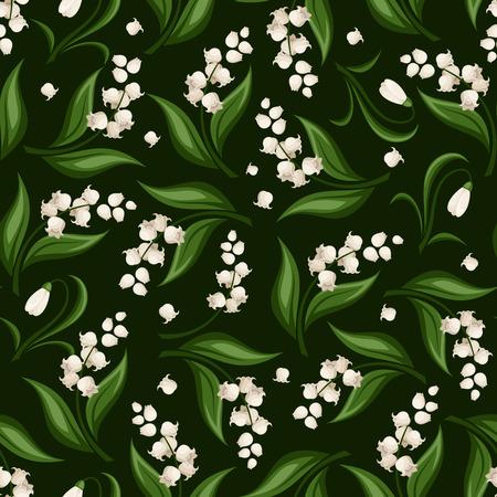 Patrón sin fisuras con el lirio de los valles y de campanillas flores. Ilustración del vector. Foto de archivo - 35982149