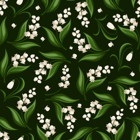 Seamless pattern with lily of the valley and snowdrop flowers. Vector illustration. Ilustração