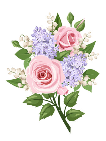 spring bud: Bouquet with pink roses, lily of the valley and lilac flowers. Vector illustration.