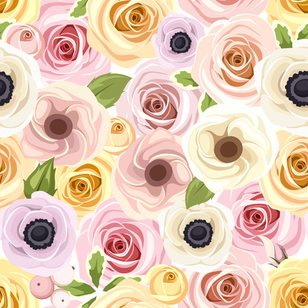 tea rose: Seamless pattern with red and white roses. Vector illustration. Illustration