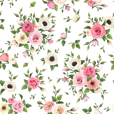 pink backdrop: Seamless pattern with pink and white roses, lisianthus and anemone flowers. Vector illustration.