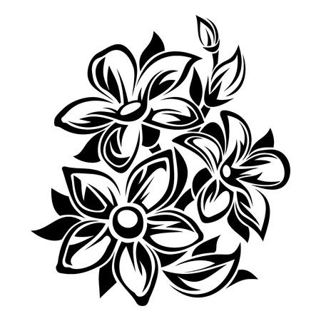 fekete-fehér: Virágok fekete-fehér dísz. Vektoros illusztráció.