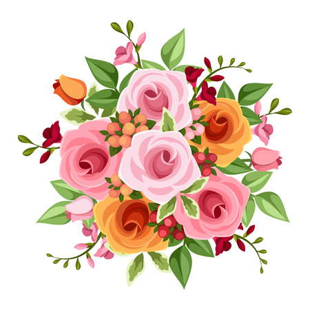 Bouquet of roses and freesia flowers