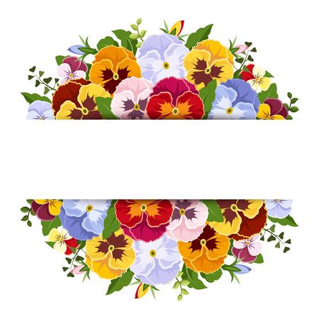 Sfondo con fiori colorati viola del pensiero Vettoriali