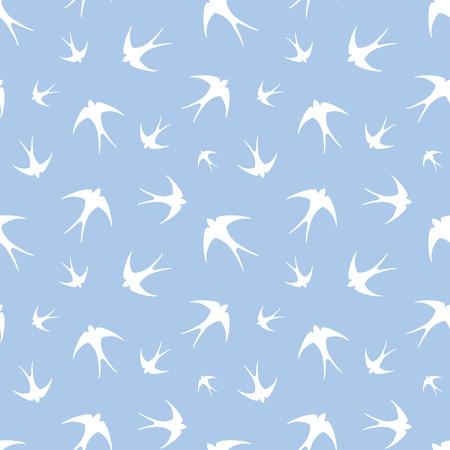golondrinas: Modelo incons�til con las golondrinas blancas en azul. Ilustraci�n del vector.