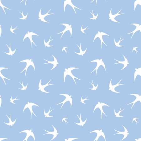 passerine: Seamless pattern with white swallows on blue. Vector illustration.